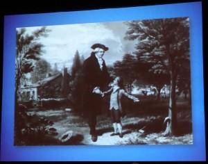 """Représentation du jeune George Washington admettant à son père que c'est lui qui a """"charcuté"""" un arbre (Photo: E. Alvarez lors de la présentation d'Eric Rutkow)"""
