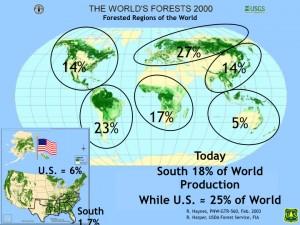 """Les grandes régions forestières et la part des États-Unis et de la région forestière """"Sud"""" dans la production de bois (Source: USDA Forest service, Forest Inventory and Analysis program)"""