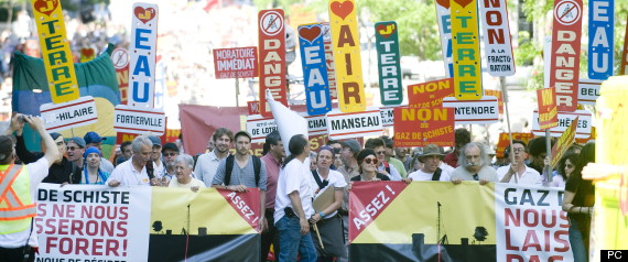Manifestation contre les gaz de schistes au Québec en 2011 (Source) - acceptabilité sociale