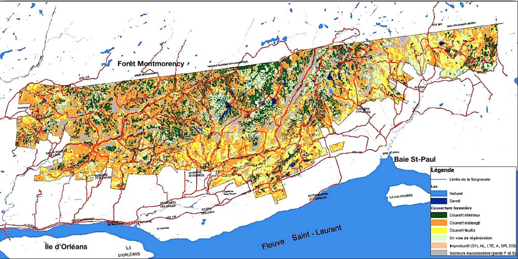 Délimitation et couvert forestier des terres du Séminaire (Source: présentation du PGAF)
