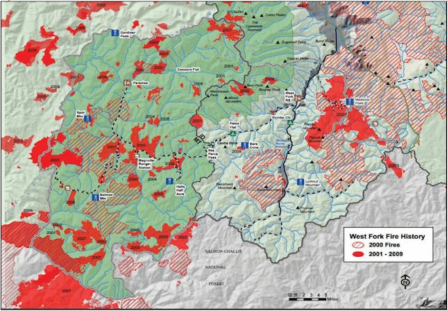 Historique des feux de 2000 à 2009 dans la Réserve naturelle Selway-Bitterroot (Source)
