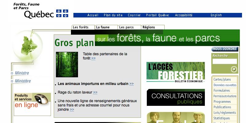Page d'accueil du MFFP le 7 novembre 2014