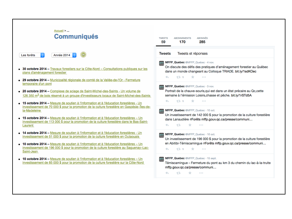 Image 1: Liste (non-exhautive) des communiqués officiels et des tweets (gazouillis) du MFFP en date du 7 novembre 2014 (montage: E. Alvarez)