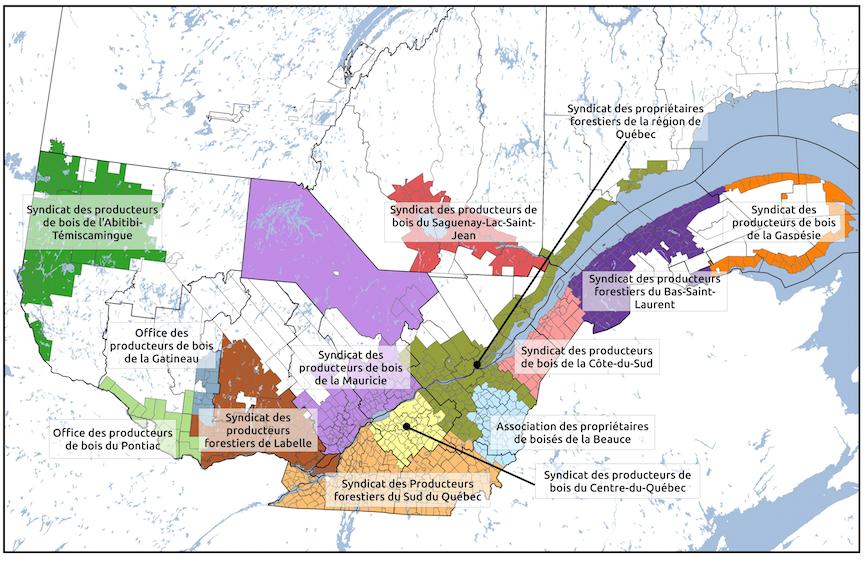 """Limites des territoires des """"plans conjoints"""" (ententes pour vendre le bois) en forêt privée (Source: FPFQ - N.B.: il s'agit d'une mise à jour de la carte publiée au moment de la mise en ligne de la chronique)"""