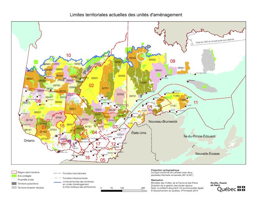 Figure: Délimitations des 71 Unités d'aménagement forestier (UAFs) au Québec en 2015 (Source).