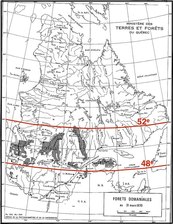 Localisation des forêts domaniales en 1970 (Source: Rapport annuel du ministère des Terres et Forêts 1970 — p. 112; numérisation et montage: E. Alvarez)
