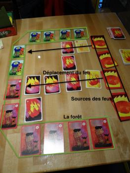 Une de mes parties de Sylvion. Ma situation était alors perdue, car le feu allait atteindre la forêt et je n'avais pas assez de cartes vertes (6) à retourner (en haut) par rapport à la force des feux (7; 4+3) qui allaient toucher la forêt.