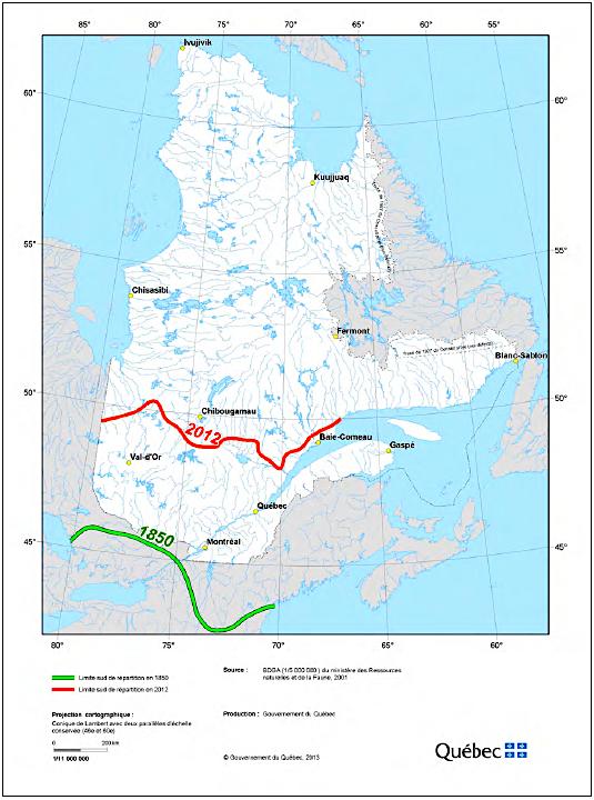 Limite méridionale de l'aire de répartition contenue du caribou forestier au Québec, en 1850 et 2012