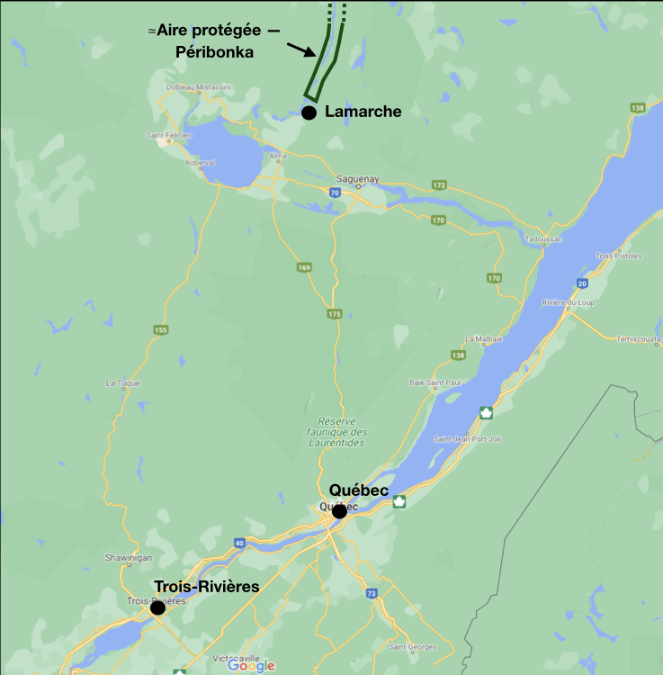 Localisation de la municipalité de Lamarche (Québec) et celle (approximative) de l'aire protégée envisagée pour la rivière Péribonka